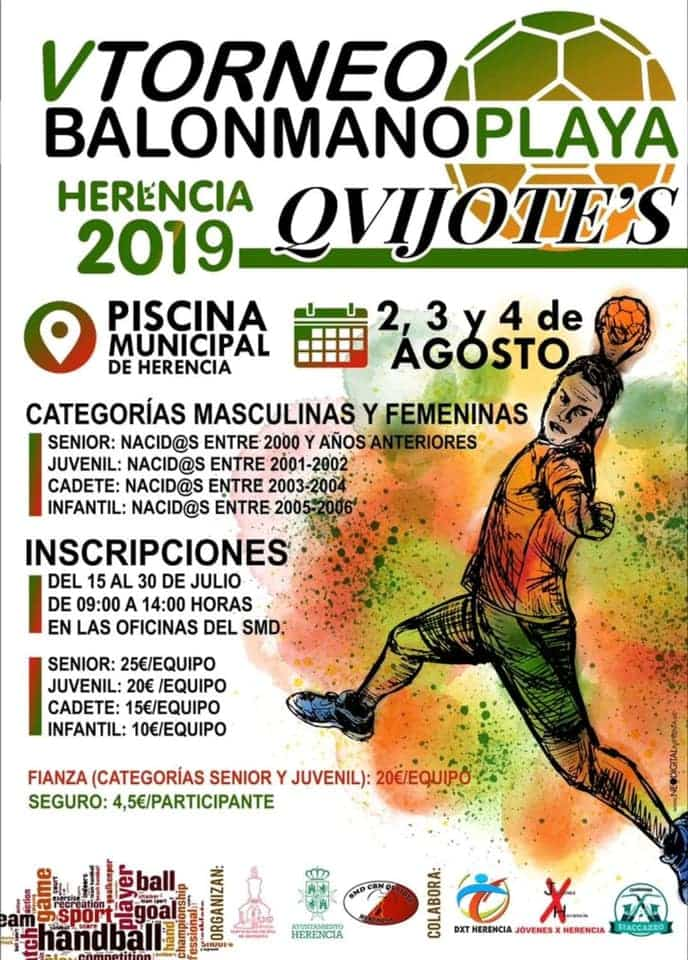 cartel V torneo balonmano playa herencia - Finalizado el V Torneo de Balonmano Playa en Herencia