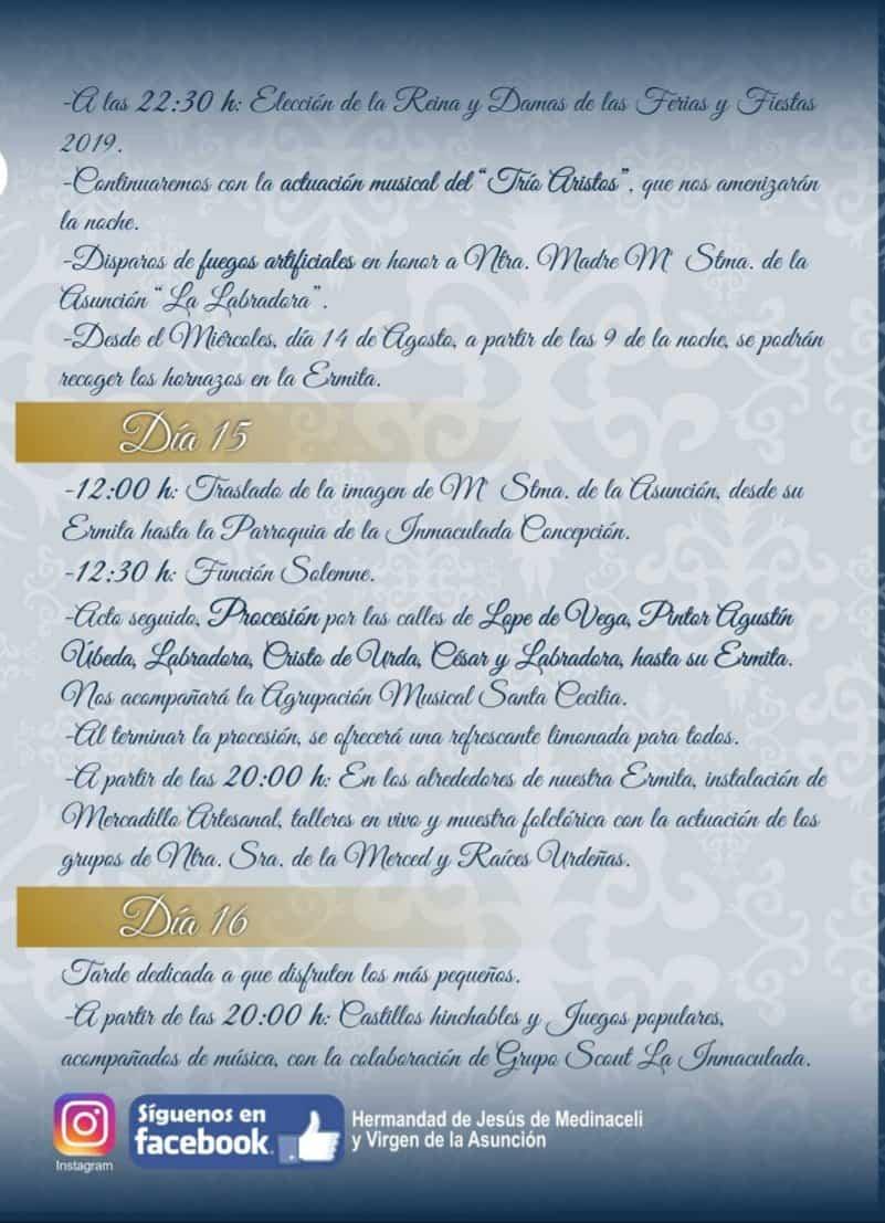 Programa de fiestas en honor a María Santísima de la Asunción en Herencia 15