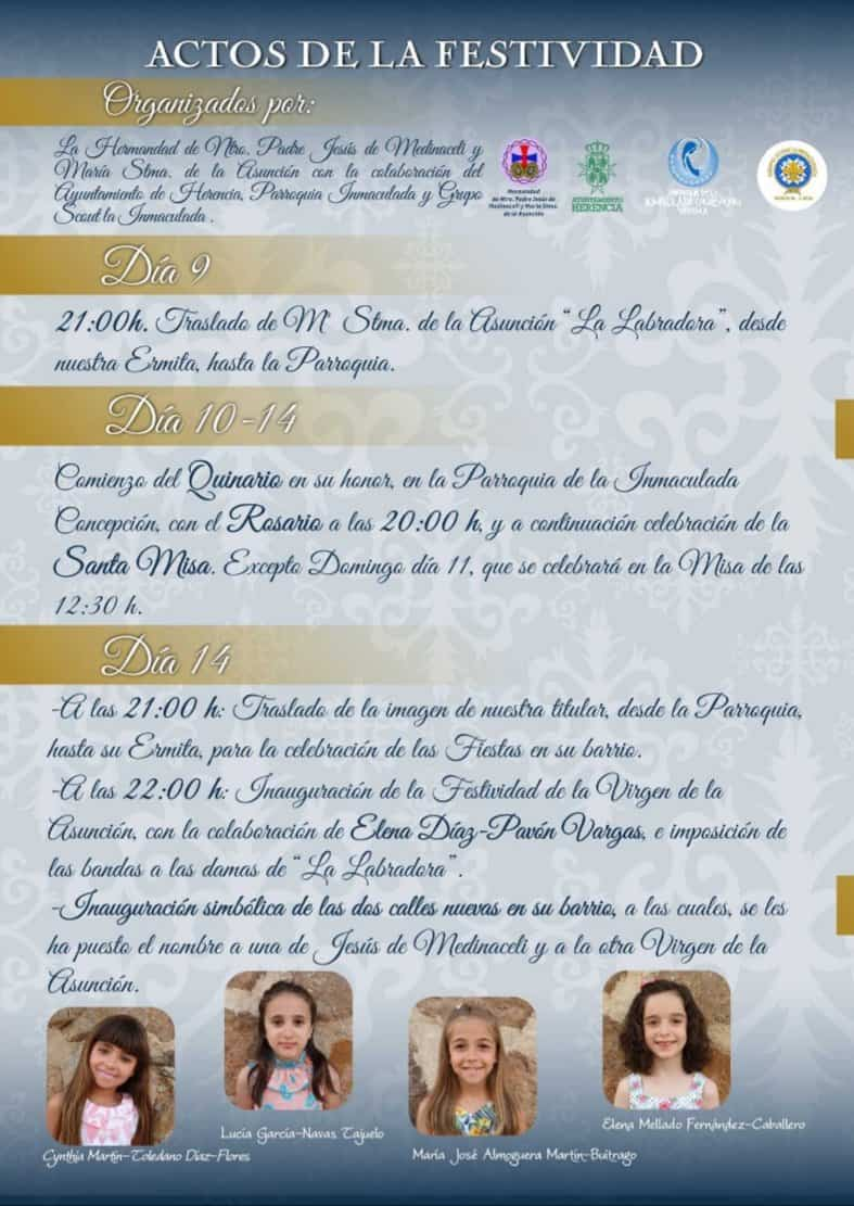 Programa de fiestas en honor a María Santísima de la Asunción en Herencia 14