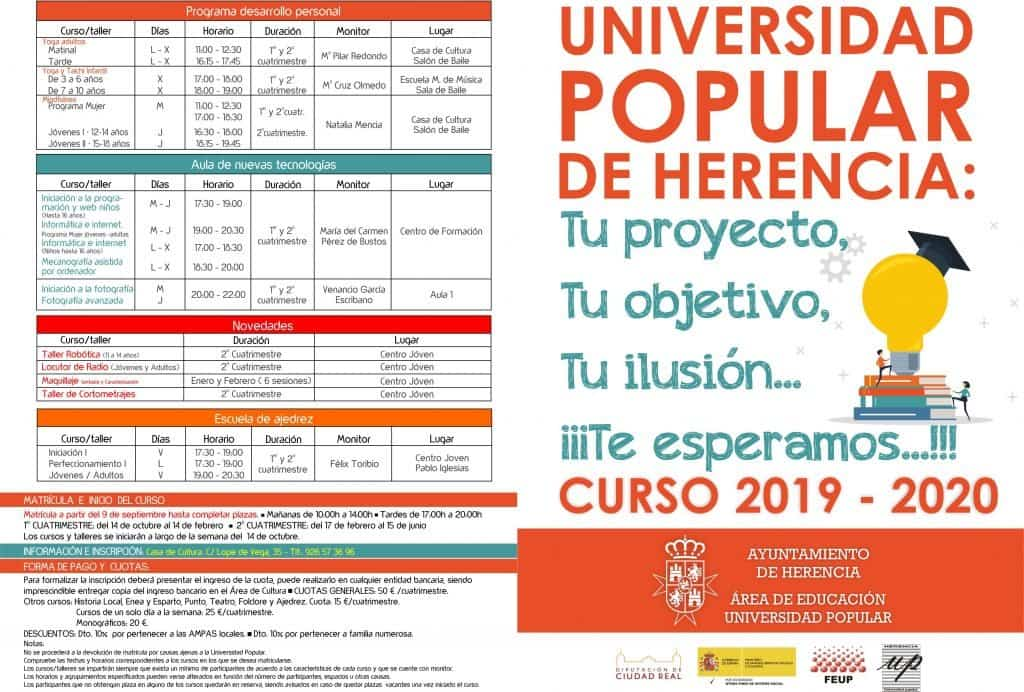 0954 2019 UP Folleto 2019 A 1024x692 - La Universidad Popular Herencia decenas de cursos, talleres y actividades