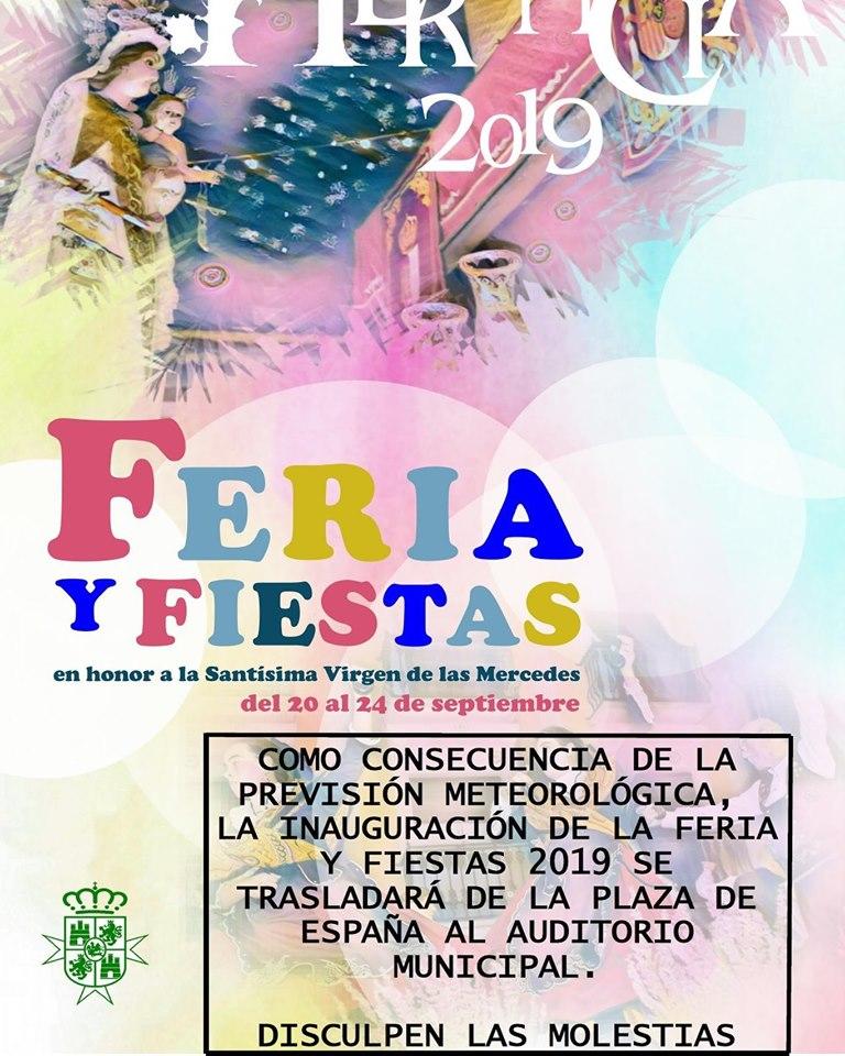Cambio del lugar de la inauguración de la feria - La previsión meteorológica condiciona el cambio de lugar de la inauguración de la Feria y Fiestas 2019