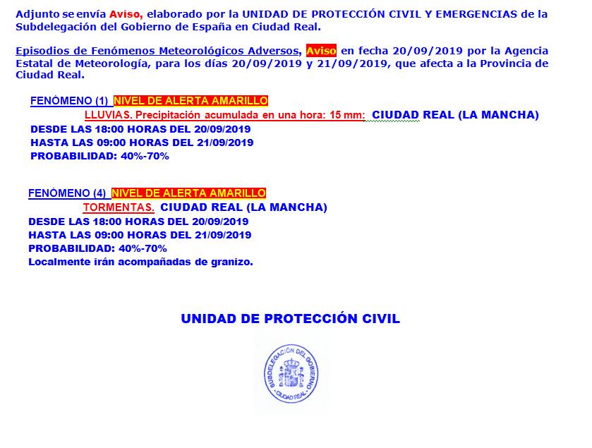 alerta amarilla lluvias proteccion civil ciudad real - Aviso de alerta amarilla y naranja por lluvia y tormentas en la zona de Herencia