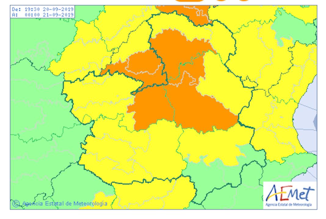 alerta amarilla naranja clm 1068x719 - Aviso de alerta amarilla y naranja por lluvia y tormentas en la zona de Herencia
