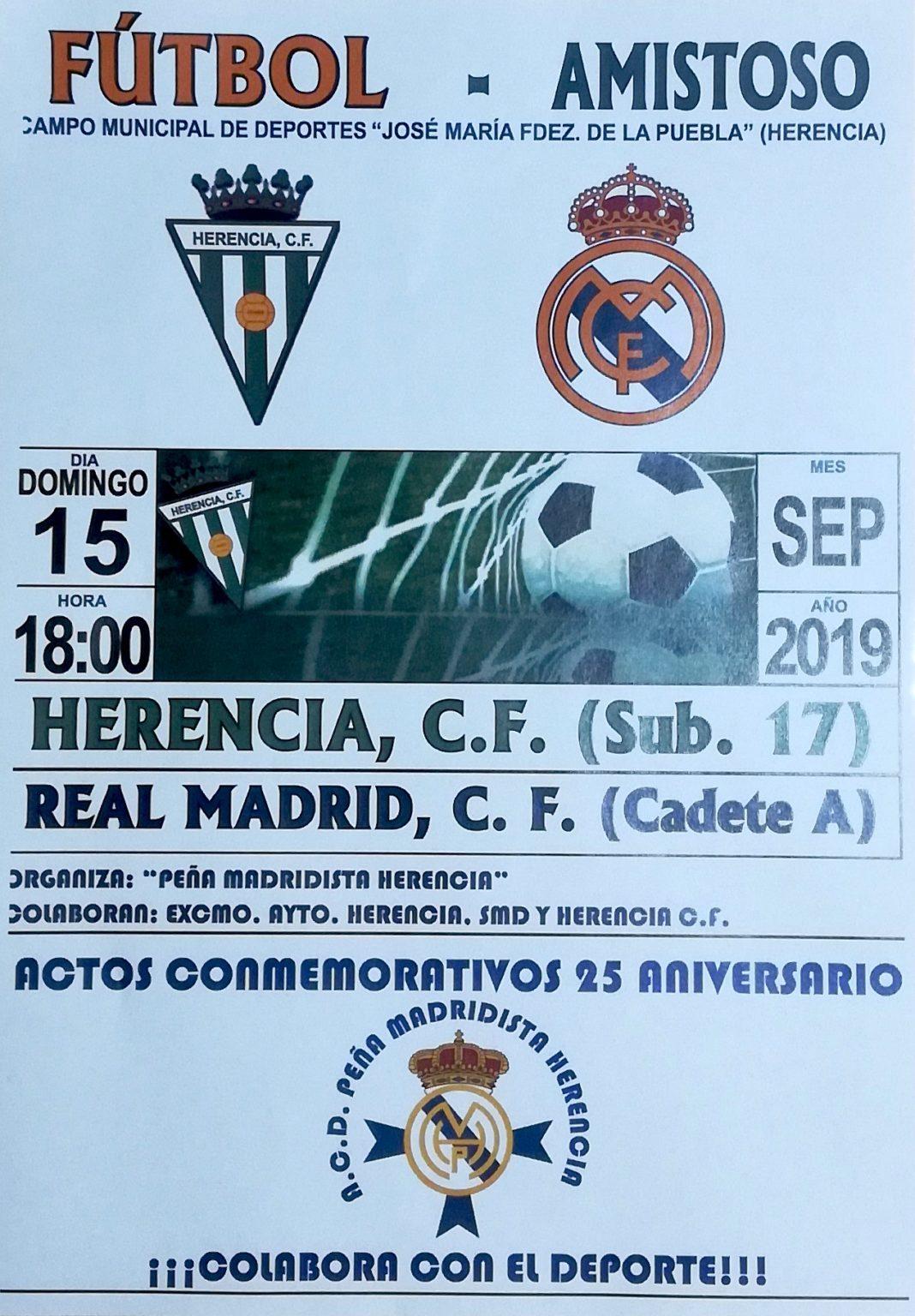 partido aniversario peña madridista 1068x1536 - Amistoso entre el Herencia C. F. sub-17 y el Real Madrid C. F. Cadete A