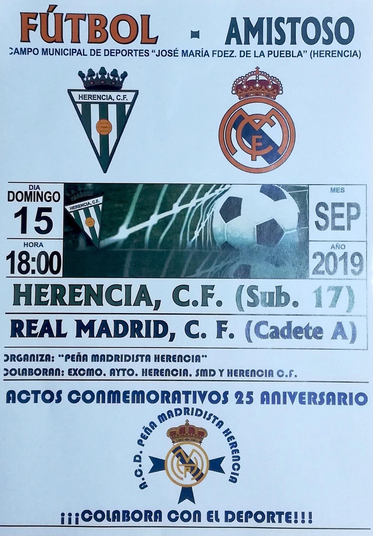 partido aniversario peña madridista - Amistoso entre el Herencia C. F. sub-17 y el Real Madrid C. F. Cadete A