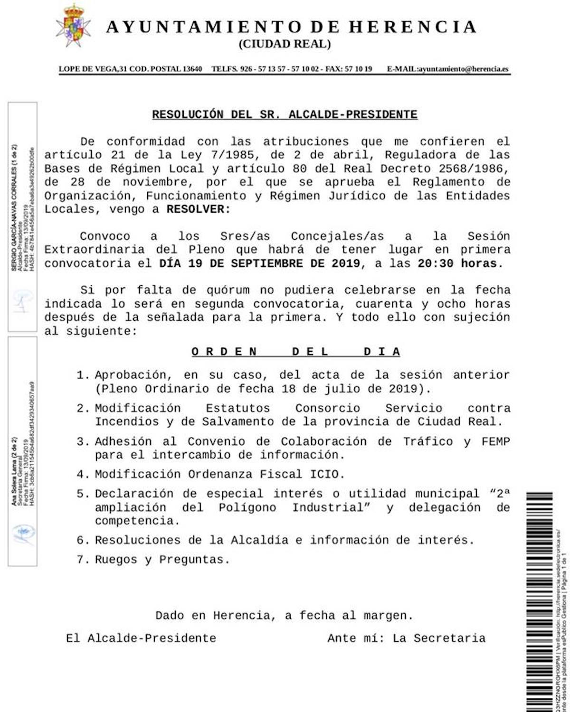 pleno extraordinario 19 septiembre 2019 herencia - Próximo pleno extraordinario del Ayuntamiento de Herencia, el 19 septiembre 2019