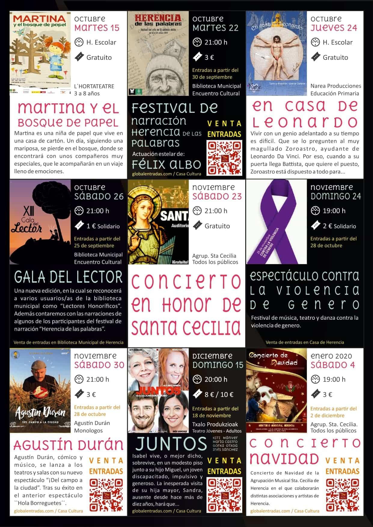 programacion cultura herencia 2019 detalles - Presentada la programación cultural de Herencia para la nueva temporada en el Auditorio Municipal