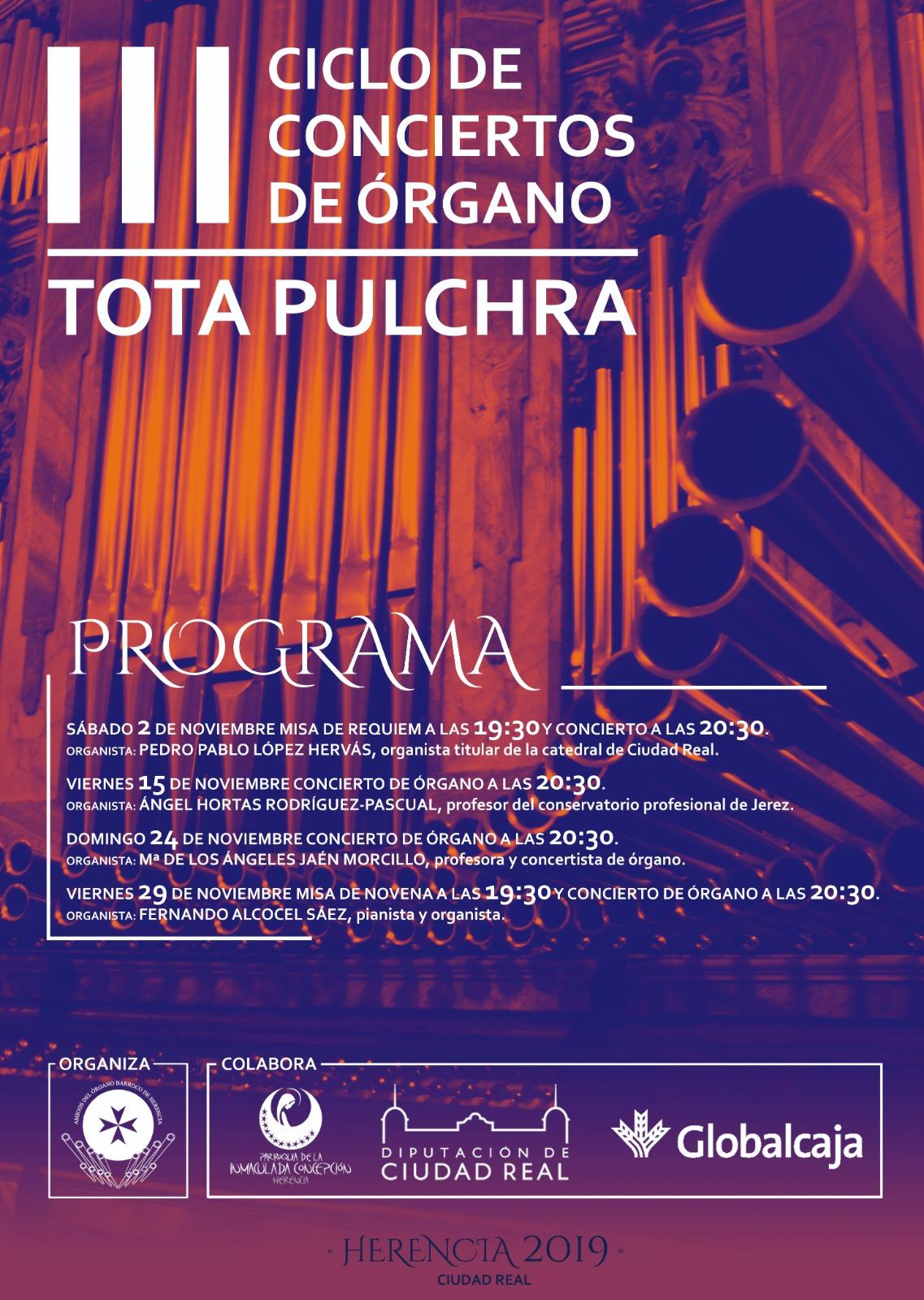 III Ciclo de Conciertos de órgano Tota Pulchra Herencia - Comienza el III Ciclo de conciertos de órgano en Herencia
