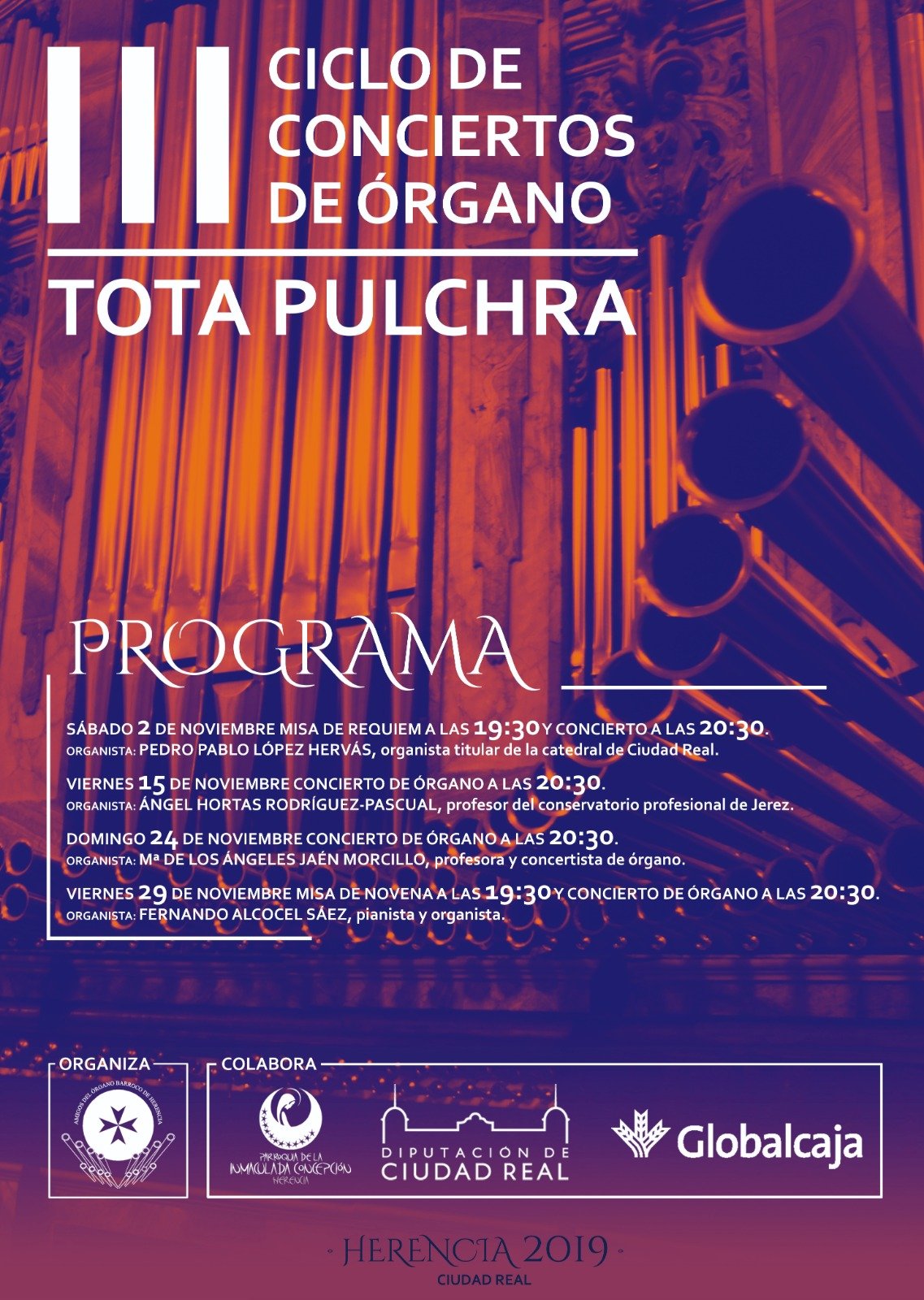 III Ciclo de Conciertos de %C3%B3rgano Tota Pulchra Herencia - María de los Ángeles Jaén Morcillo dará un concierto en el órgano barroco de Herencia