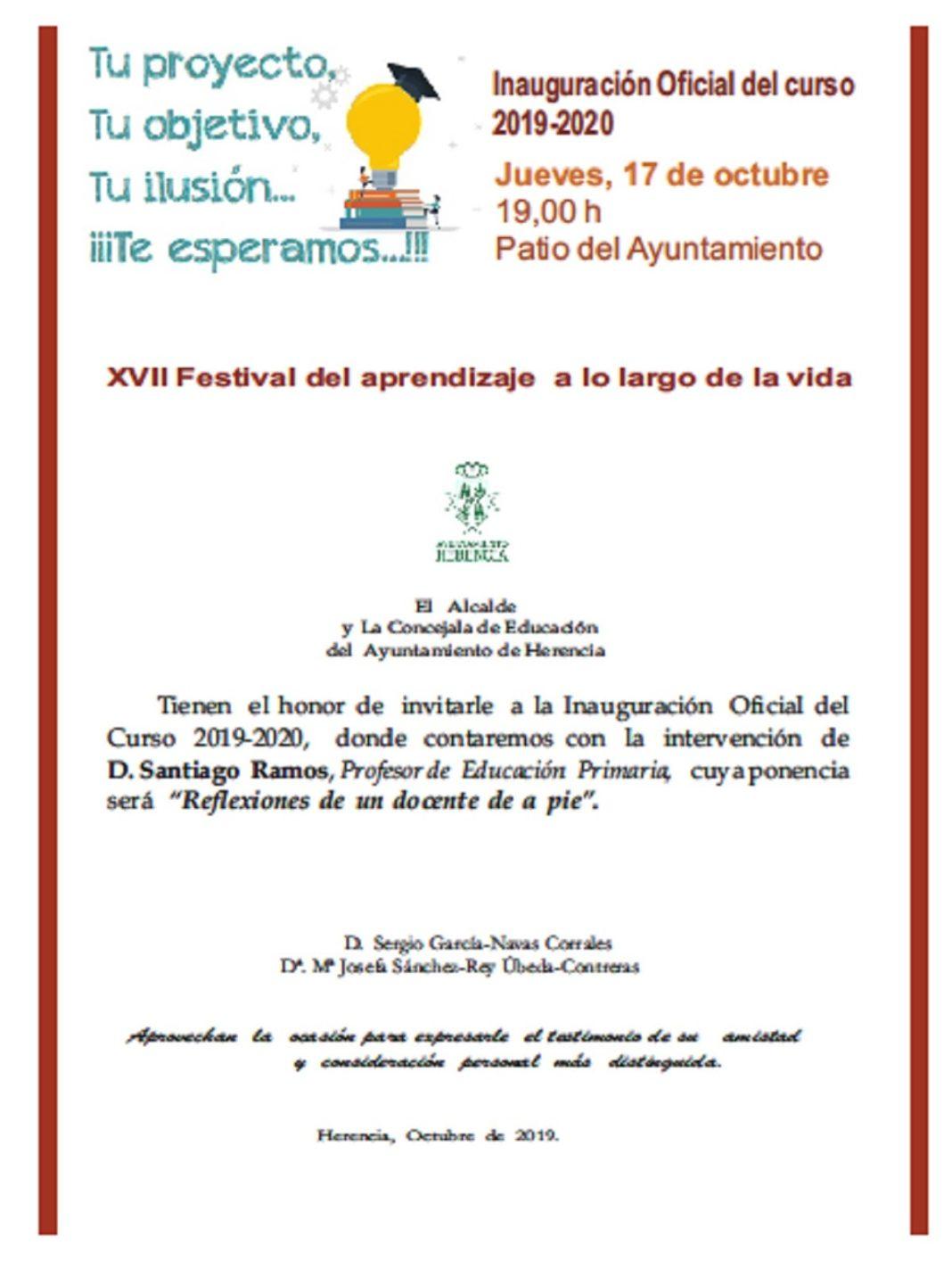 Inauguración curso escolar 1068x1424 - Santiago Ramos será el  ponente del XVII Festival del Aprendizaje a lo largo de la Vida