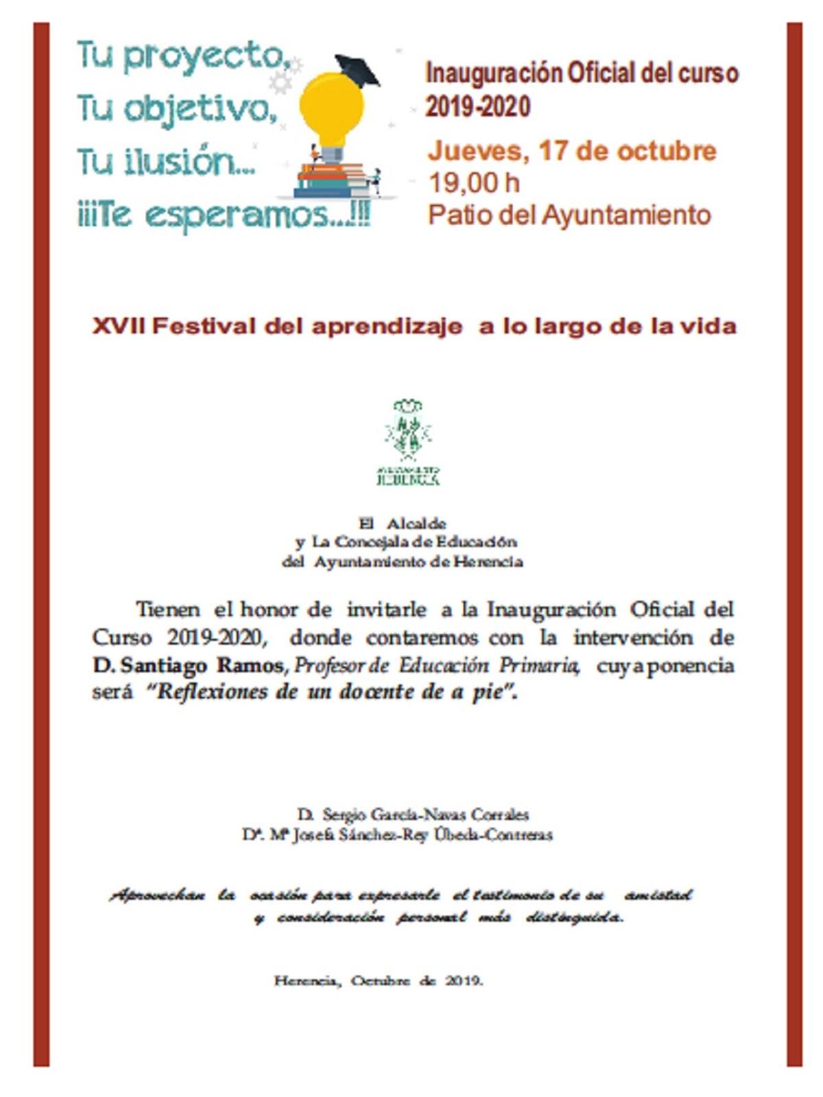 Inauguración curso escolar - Santiago Ramos será el  ponente del XVII Festival del Aprendizaje a lo largo de la Vida