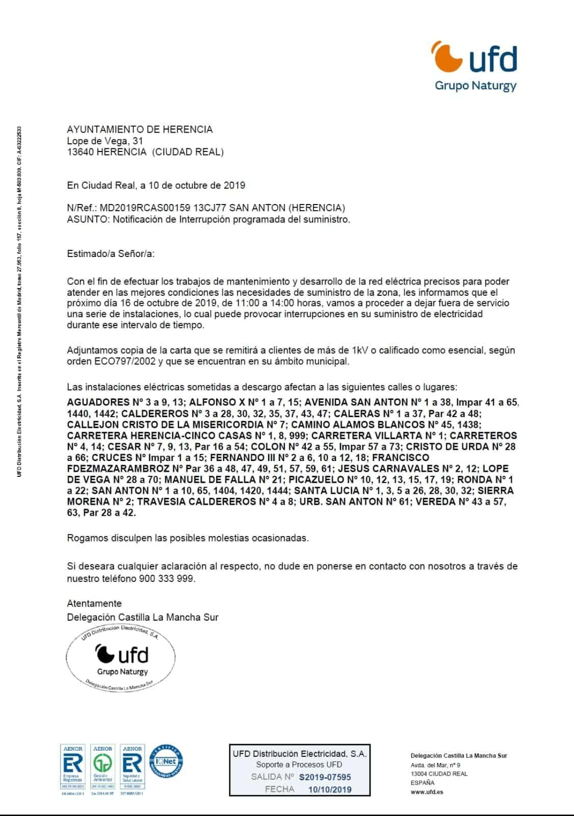 cortes de luz herencia 16 octubre 1 - Cortes de suministro eléctrico para el próximo 16 de octubre