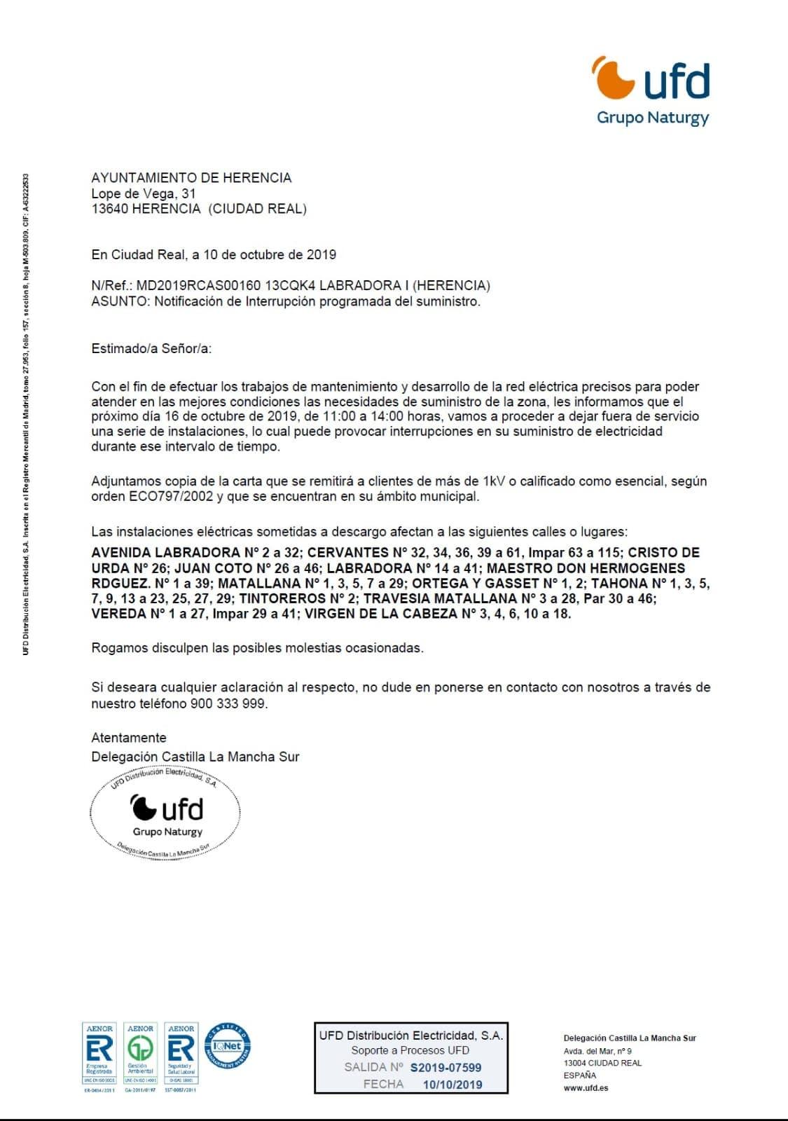cortes de luz herencia 16 octubre 2 - Cortes de suministro eléctrico para el próximo 16 de octubre