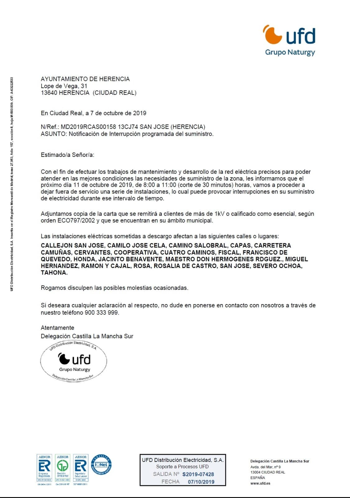 Cortes de suministro eléctrico para el próximo 11 de octubre 5