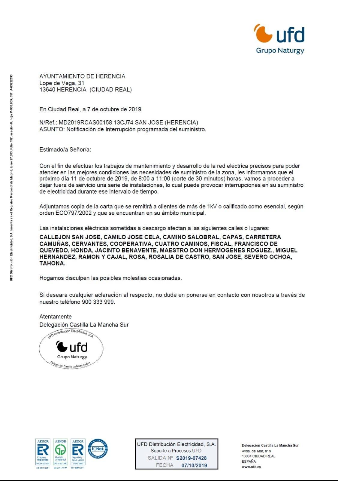 cortes de luz programados herencia octubre 2019 - Cortes de suministro eléctrico para el próximo 11 de octubre