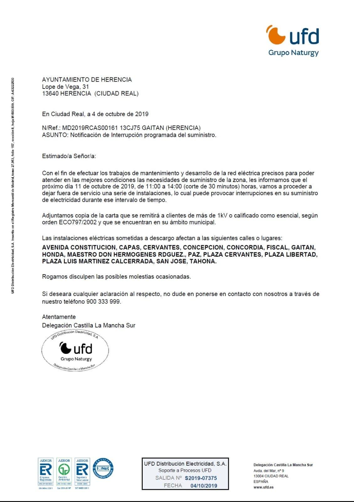 cortes en suministro electrico programados herencia 2019 - Cortes de suministro eléctrico para el próximo 11 de octubre