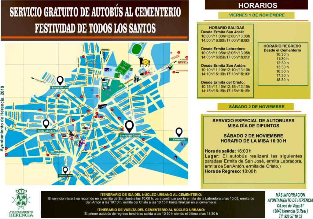 horarios autobueses al cementerio día de todos los santos - Servicio gratuito de autobuses para el Día de los Santos y obras de mejora en el Cementerio