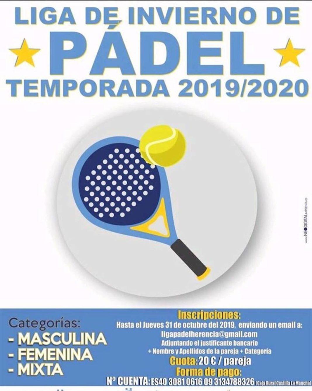 liga invierto padel 2019 2020 1068x1335 - Próxima Liga de invierno de Pádel para 2019-2020