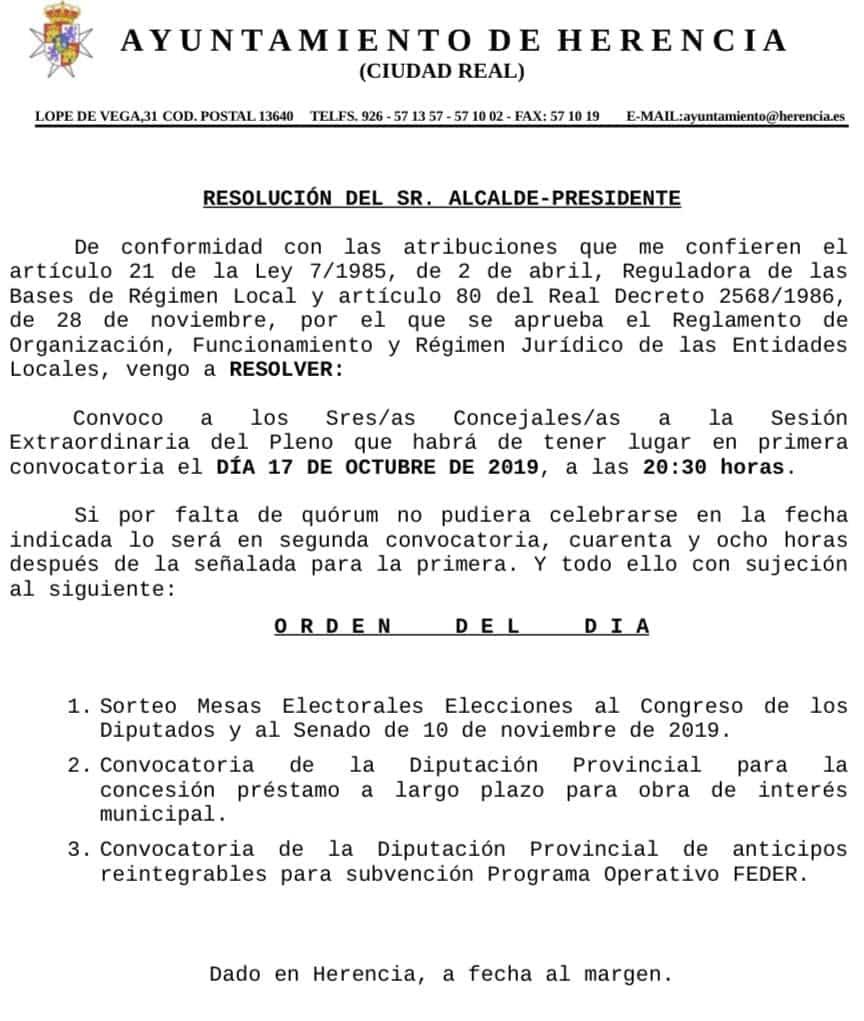 pleno herencia 17 octubre 2019 - Próximo sorteo de Mesas Electorales para las Elecciones Generales de 10N