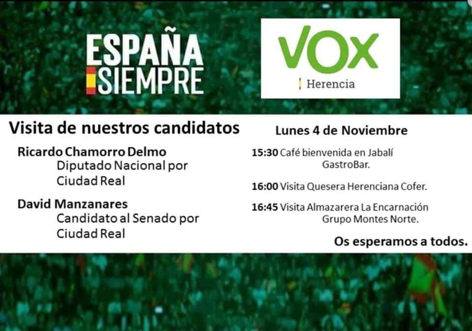 Candidatos de Vox al Congreso y Senado visitan Herencia 3