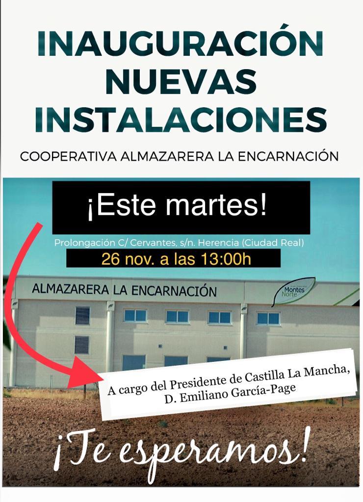 Inauguración cooperativa almazarera la Encarnación montes norte - Emiliano García-Page inaugurará las nuevas instalaciones de la cooperativa almazara La Encarnación