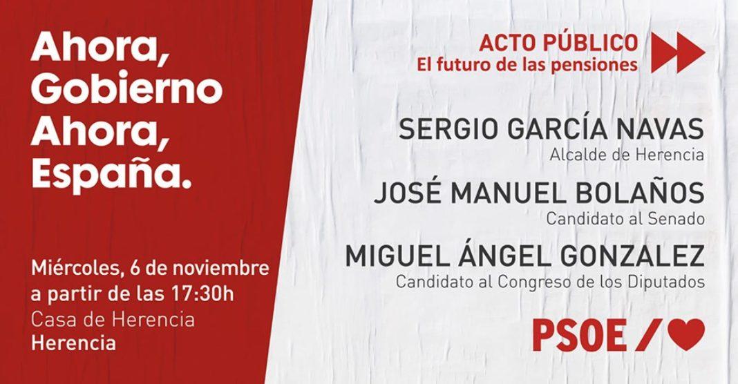 acto campaña electoral PSOE herencia 1068x556 - Acto público del PSOE en Herencia de cara a las elecciones del 10N