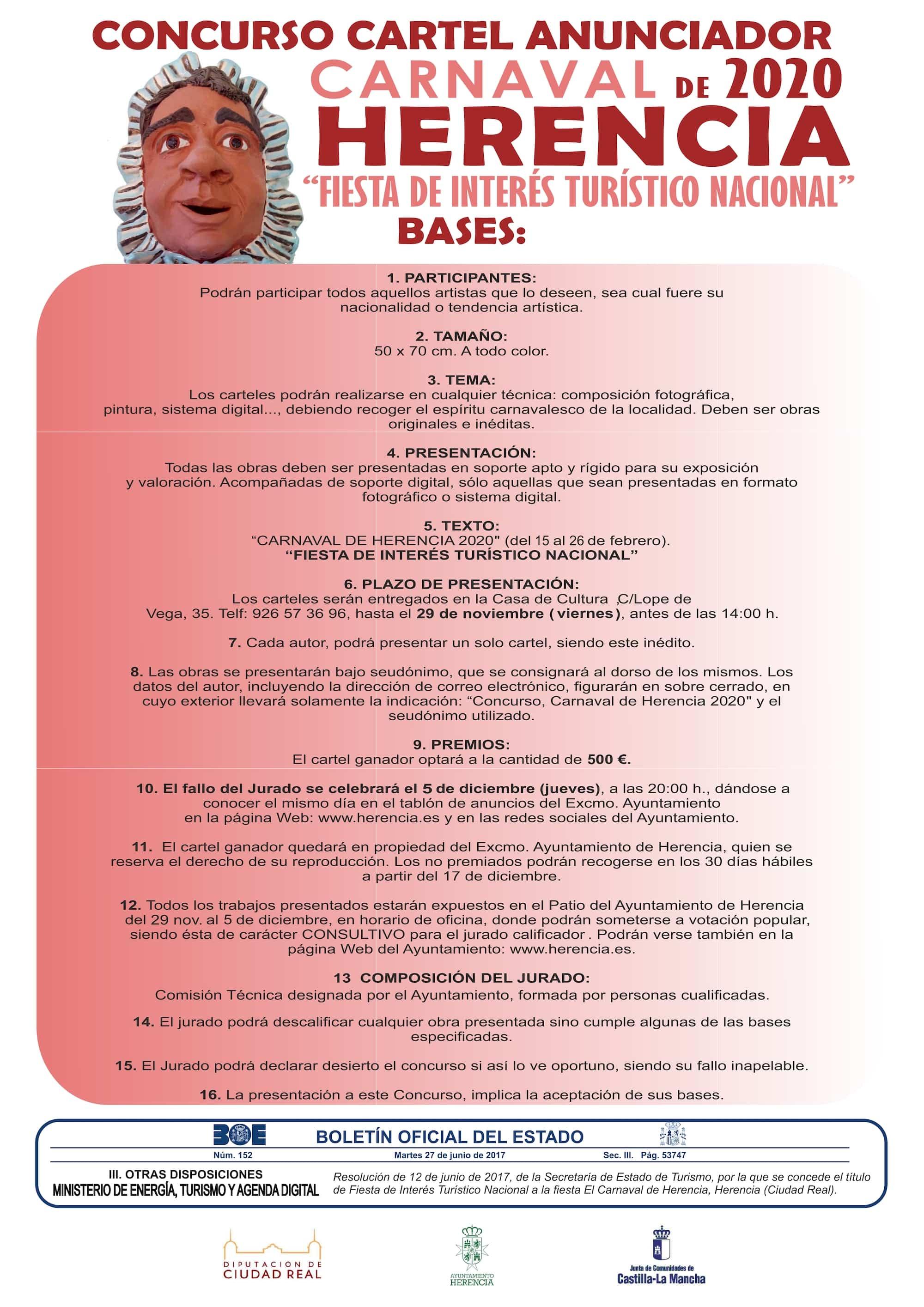 bases cartel carnaval herencia 2020 - Presenta tus propuestas para el Cartel de Carnaval de Herencia 2020
