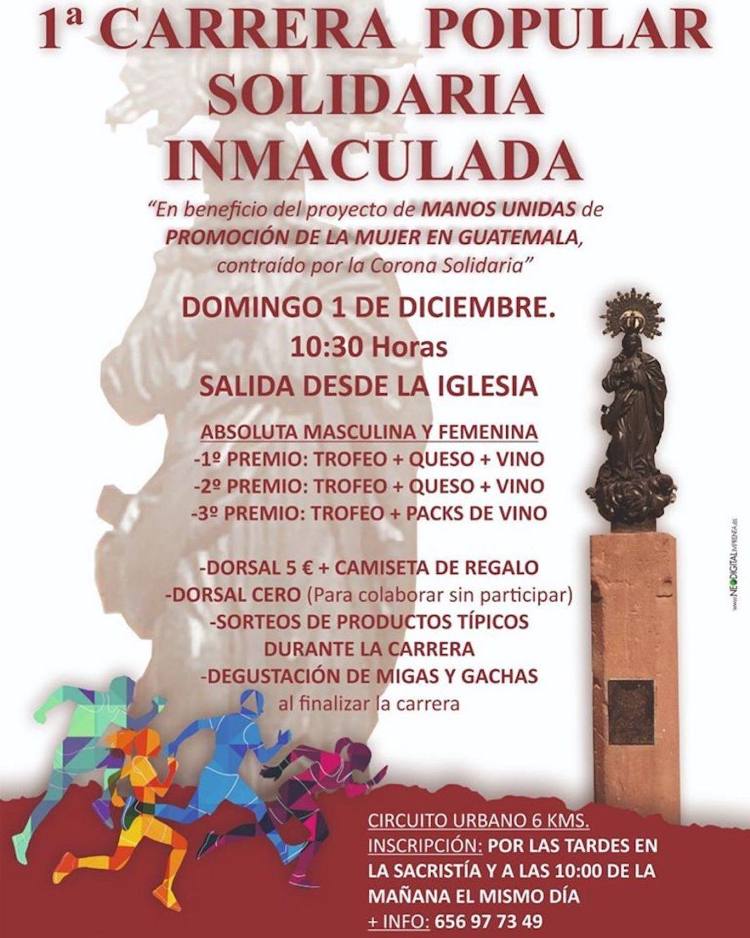 carrera solidaria inmaculada 1068x1335 - 1ª Carrera Popular Solidaria Inmaculada el próximo 1 de diciembre
