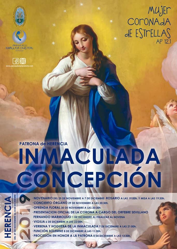 cartel fiestas patronales Inmaculada Concepción de Herencia 2019 - Presentado cartel y actos de las fiestas patronales de la Inmaculada Concepción