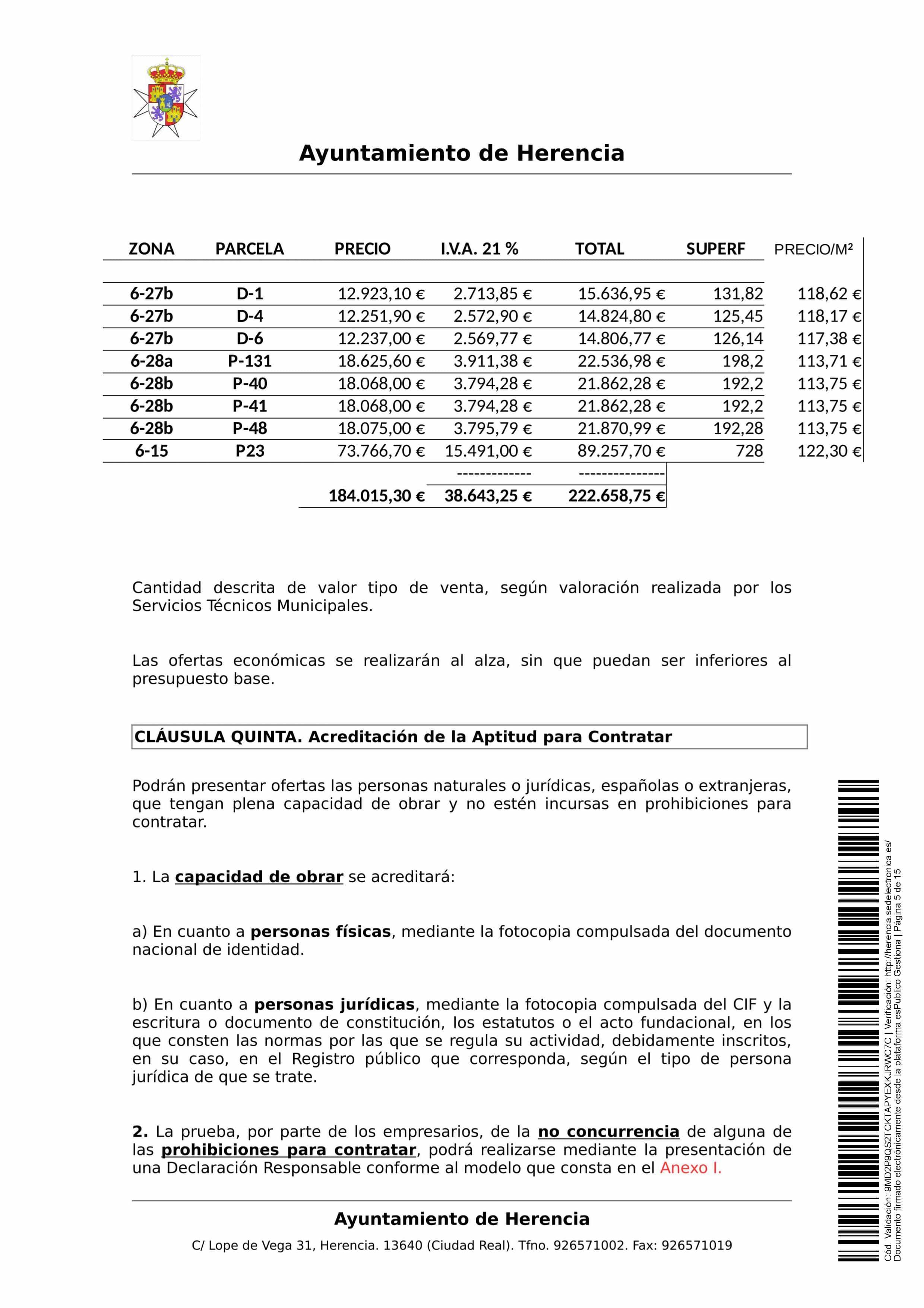 clausulas administrativa subasta parcelas 0005 - Herencia pone 8 parcelas residenciales a subasta para obtener más ingresos