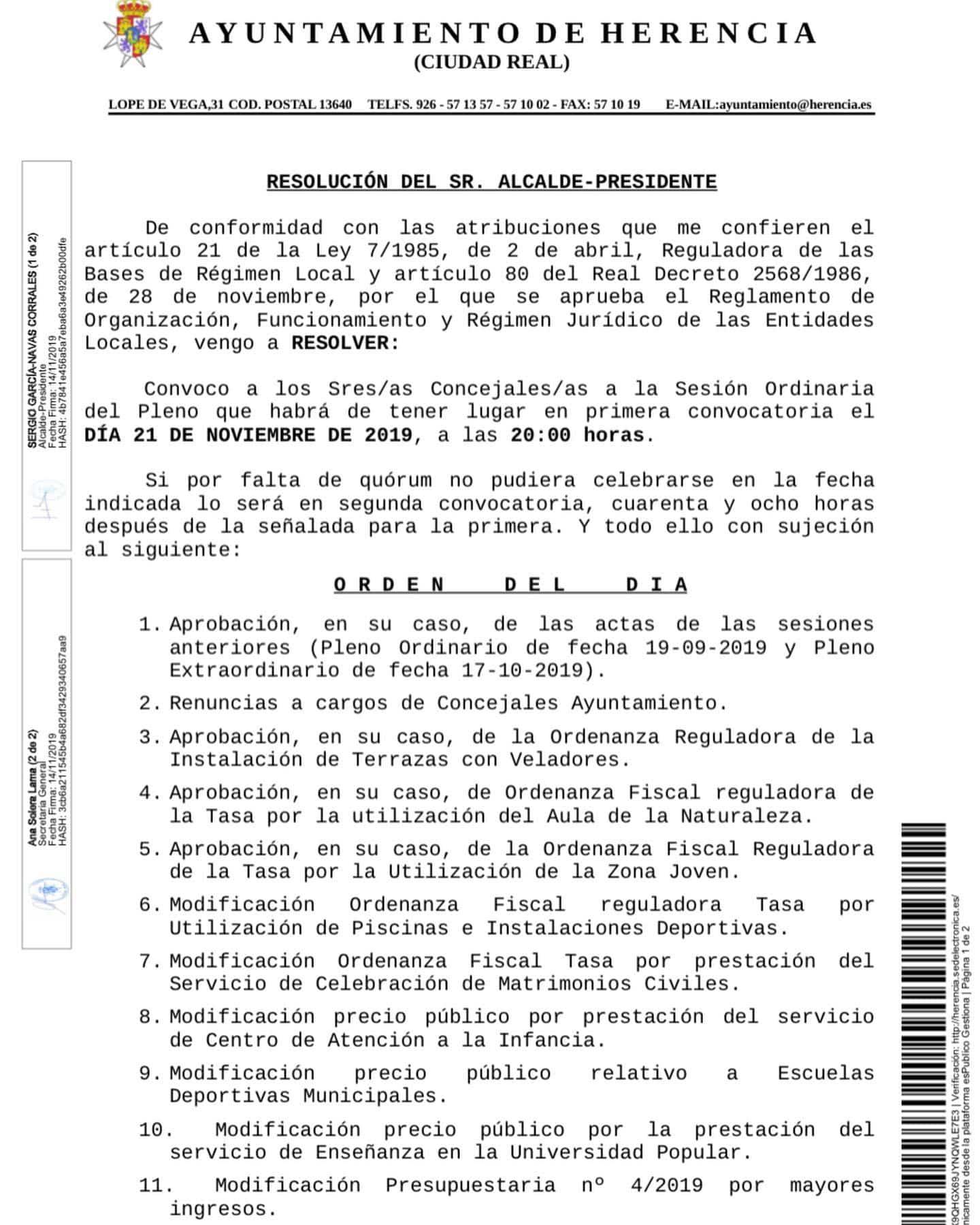 pleno herencia 21 noviembre 2019 a - Próximo pleno del Ayuntamiento de Herencia el 21 de noviembre