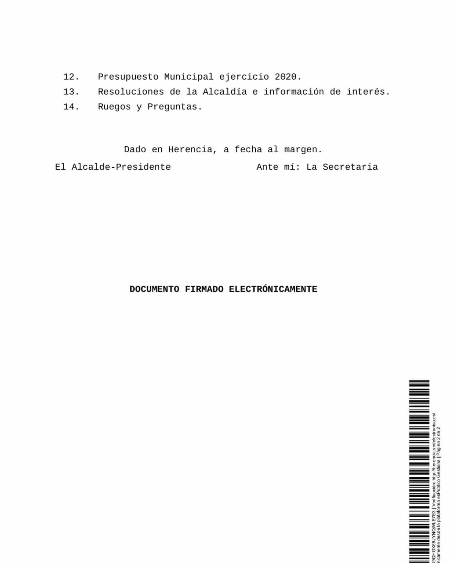 pleno herencia 21 noviembre 2019 b - Próximo pleno del Ayuntamiento de Herencia el 21 de noviembre