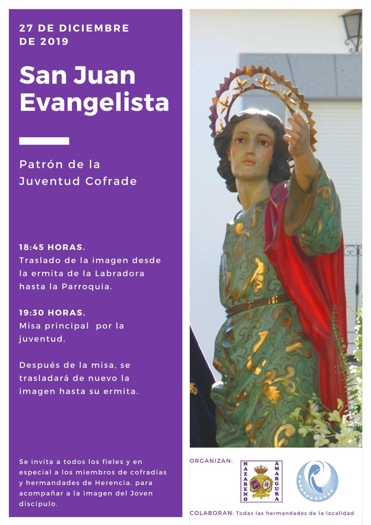 festividad de san juan evangelista en Herencia - Traslado extraordinario de la imagen de San Juan Evangelista