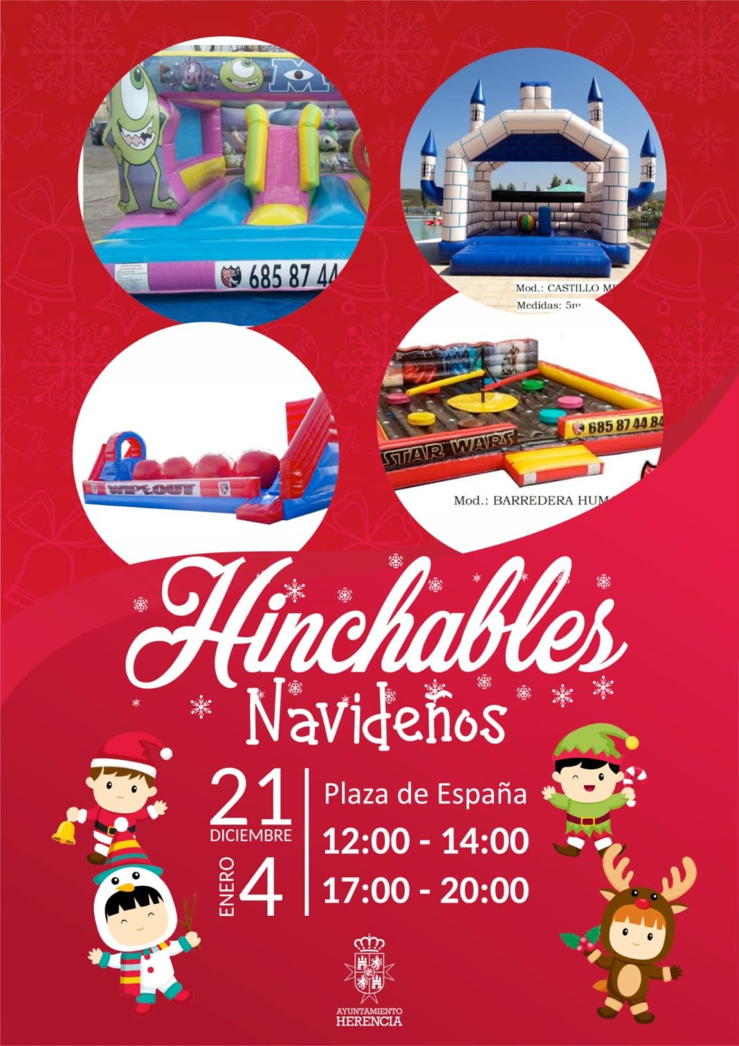 hinchables navidad 1068x1511 - Esta navidad hinchables en la Plaza de España de Herencia
