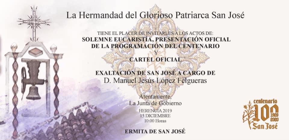 presentación cartel y programacion centenario de San José1 - Manuel Jesús López Felgueras será el encargado de la exaltación extraordinaria a San José