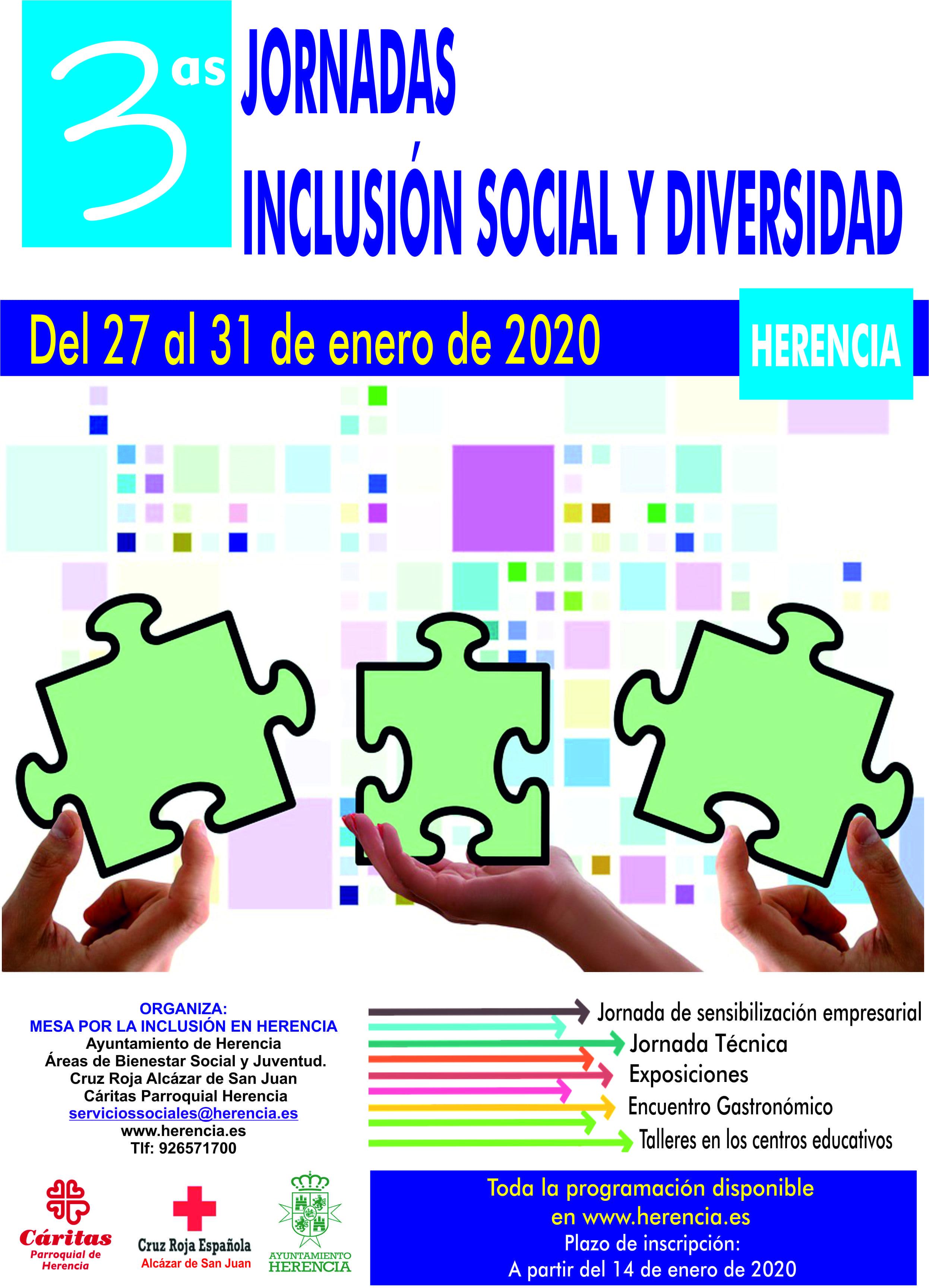 Cartel jornadas inclusion social diversidad - Herencia presenta las III Jornadas de Inclusión Social y Diversidad