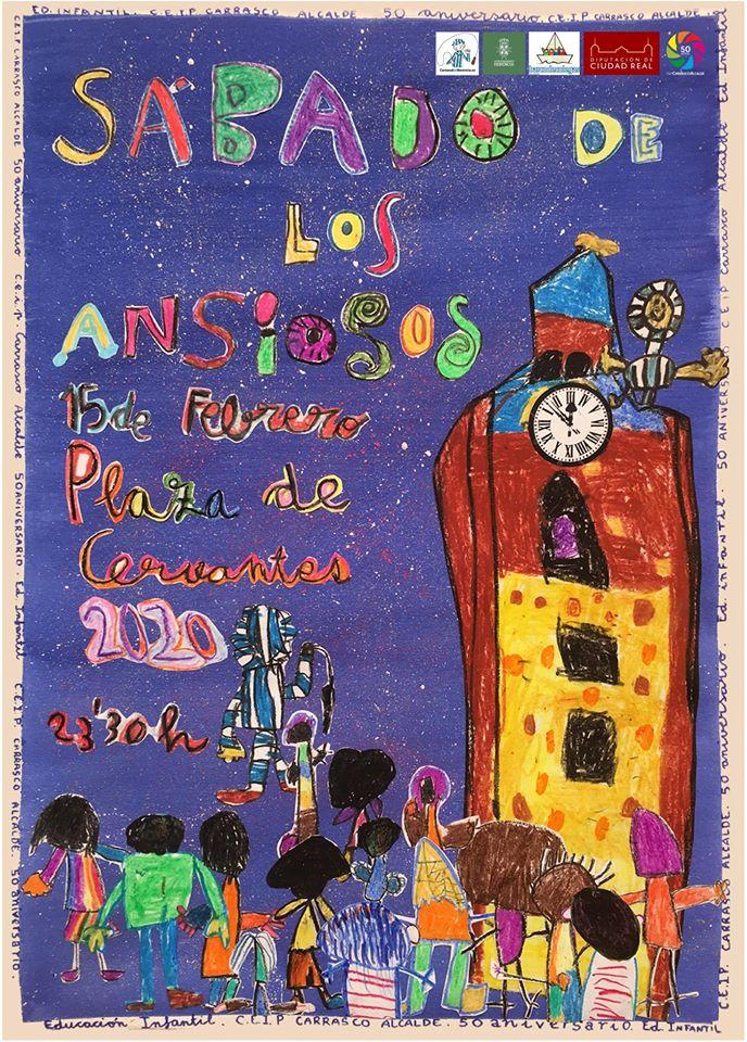 Cartel Sábado de los Ansiosos 2020 - Los alumnos de infantil del CEIP Carrasco Alcalde autores del cartel del Sábado de los Ansiosos 2020