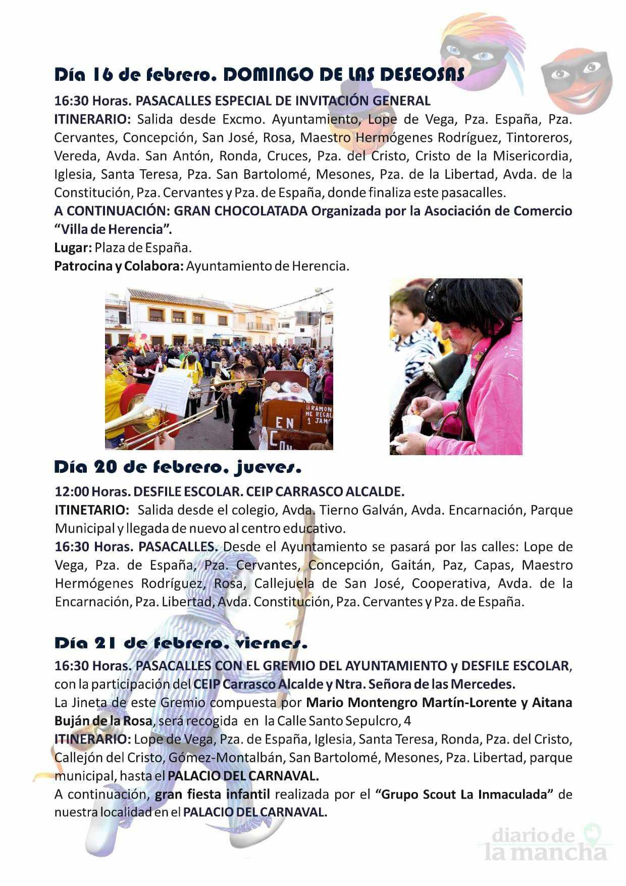 programacion carnaval 2020 herencia 4 - El actor Salva Reina pregonará un Carnaval de Herencia de Interés Turístico Nacional