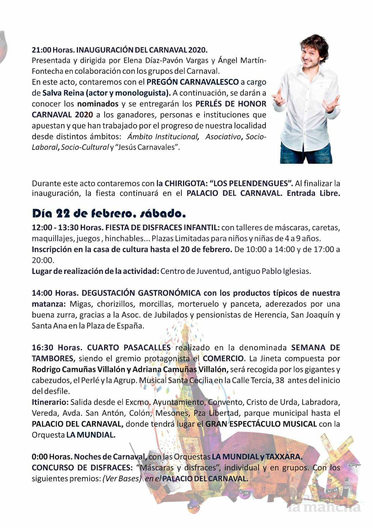 programacion carnaval 2020 herencia 5 - El actor Salva Reina pregonará un Carnaval de Herencia de Interés Turístico Nacional