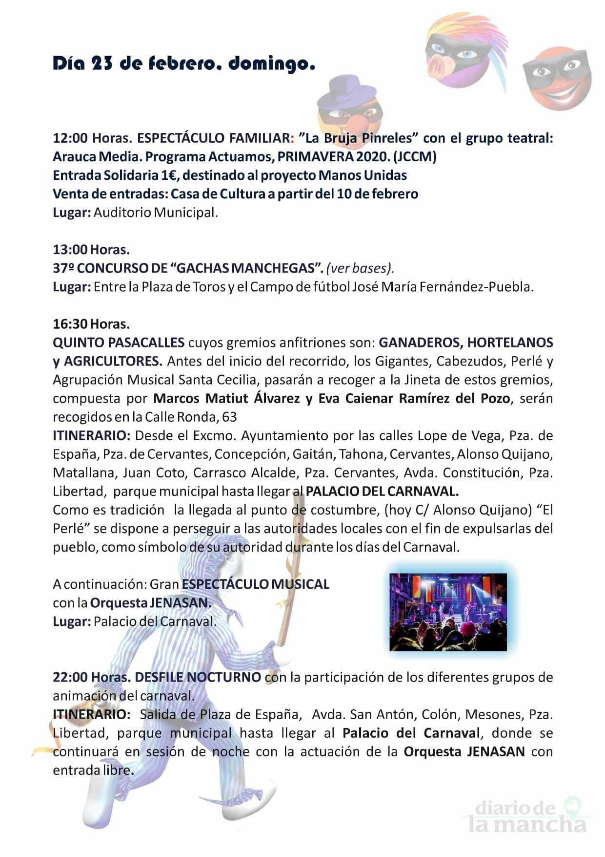 programacion carnaval 2020 herencia 6 - El actor Salva Reina pregonará un Carnaval de Herencia de Interés Turístico Nacional