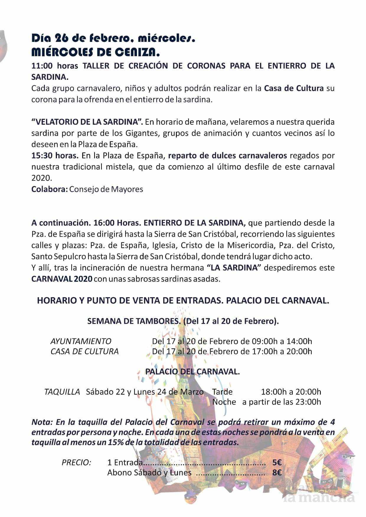 programacion carnaval 2020 herencia 9 - El actor Salva Reina pregonará un Carnaval de Herencia de Interés Turístico Nacional