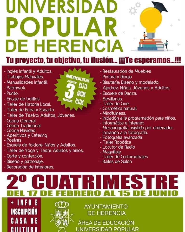 universidad popular de herencia 2020 - Matrícula abierta para el segundo cuatrimestre de la Universidad Popular de Herencia