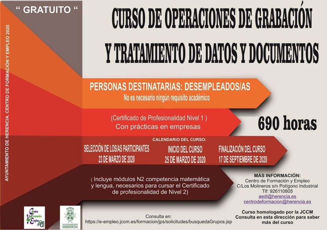 Abierto el plazo de inscripción para el curso «Operaciones de grabación y tratamiento de datos y documentos» 7