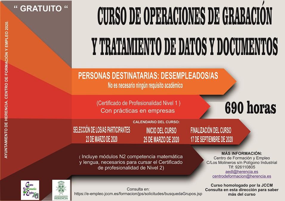 Abierto el plazo de inscripción para el curso «Operaciones de grabación y tratamiento de datos y documentos» 5