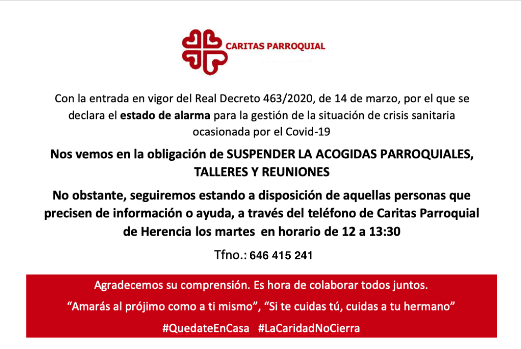 Comunicado de C%C3%A1ritas Parroquial Herencia 1 - Comunicado oficial sobre la atención en Cáritas Parroquial Herencia