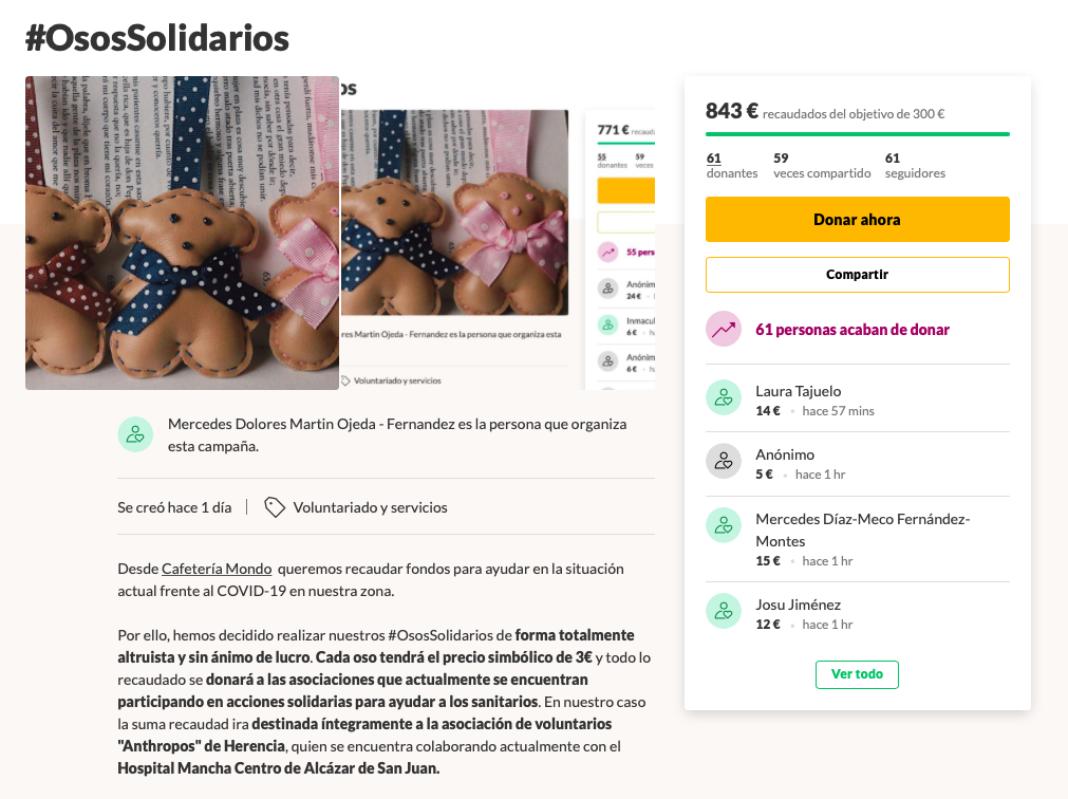 Osos solidarios de la cafetería Mondo frente al coronavirus COVID-19 4