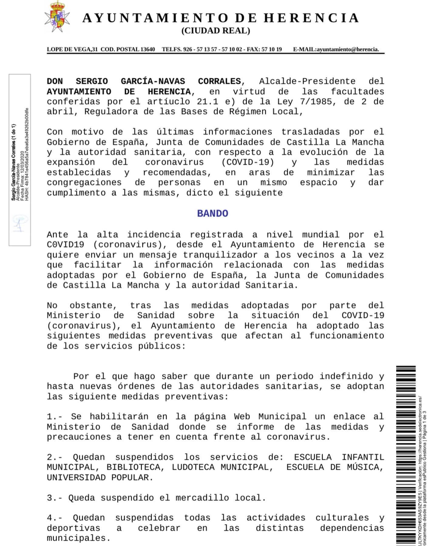 bando coronavirus herencia 1 - Bando municipal con las medidas adoptadas en Herencia por el Coronavirus
