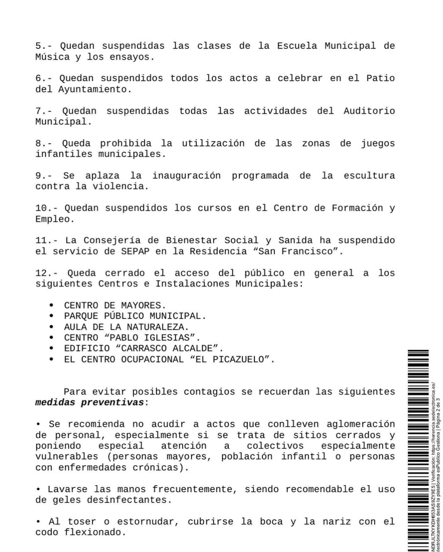 Bando municipal con las medidas adoptadas en Herencia por el Coronavirus 8