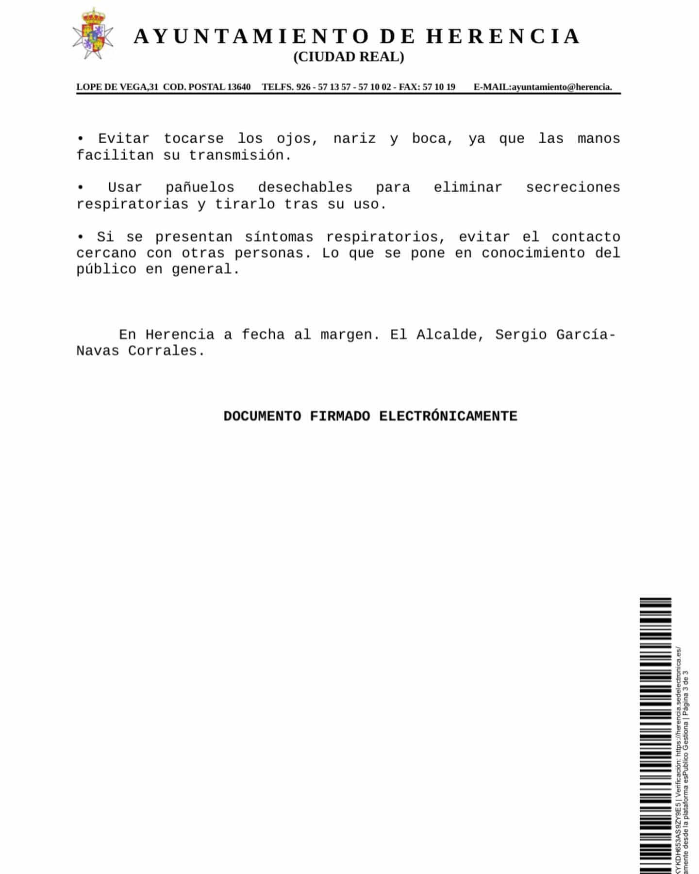 Bando municipal con las medidas adoptadas en Herencia por el Coronavirus 9