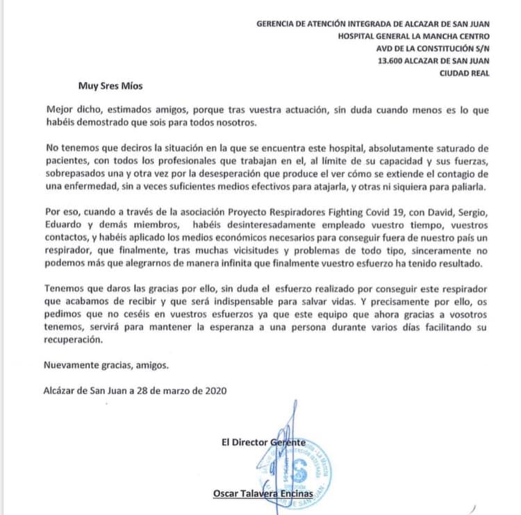 carta de agradecimiento del hospital Mancha Centro - EO Madrid consigue un respirador para el hospital Mancha Centro de Alcázar de San Juan
